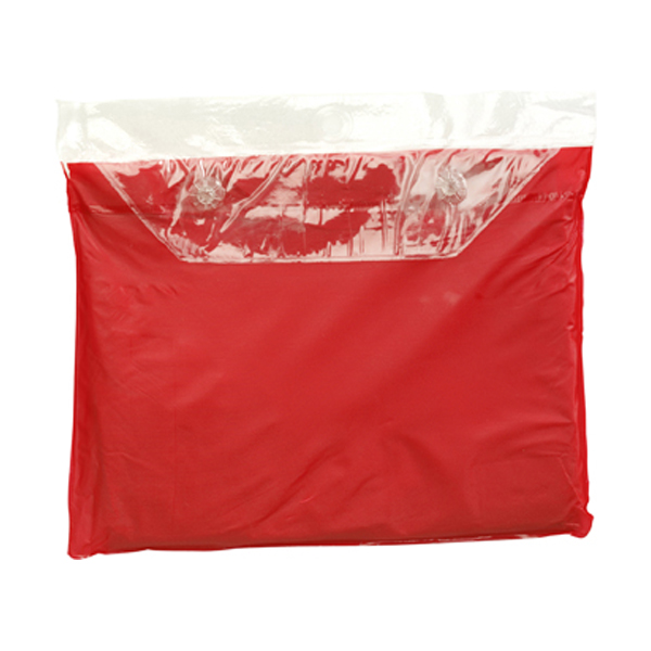 Vinyl poncho with hood in red