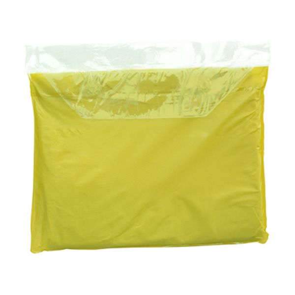 Vinyl poncho with hood in yellow