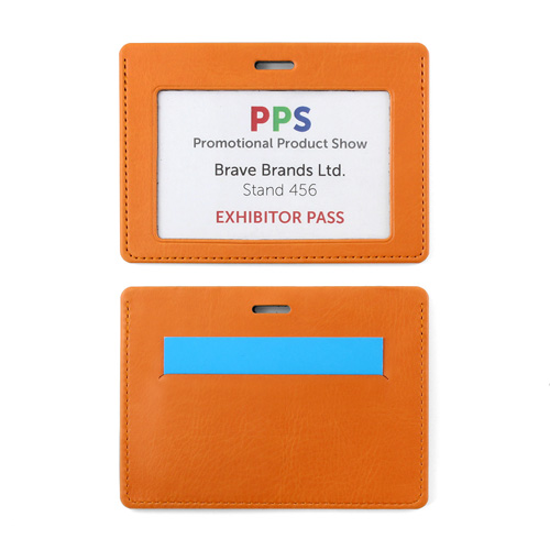 Belluno Colours PU  Landscape ID Card Holder for a Lanyard or Clip, with a Card slot to the rear.