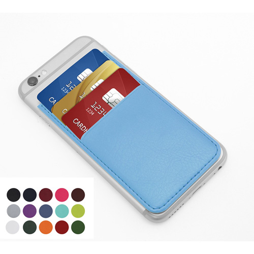 Belluno Coloured  PU Card Case with Three Card Slots, to stick to back of mobile phone