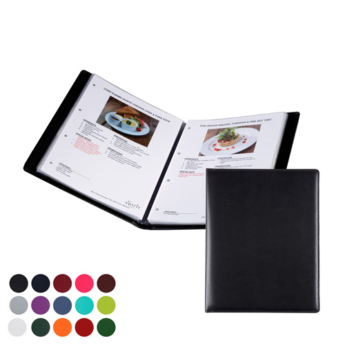 A4 Information, Wine List or Menu Holder to hold 16 sheets of a4, in a choice of Belluno Colours
