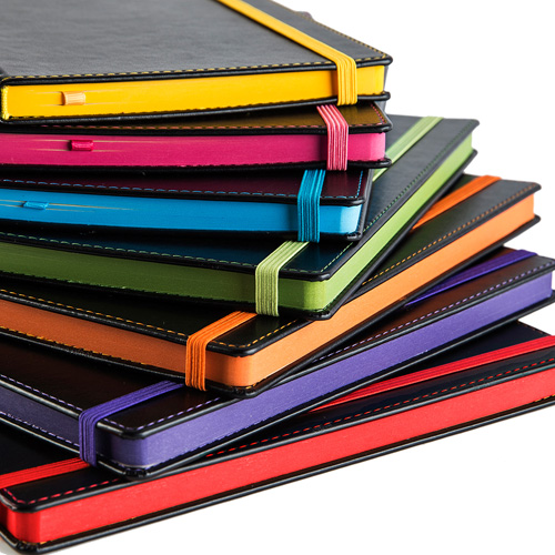 Accent A5 Notebook with a Black Cover, Contrast Colour Elastic Strap, Edge Stitch, Edge Stained paper & Page Marker.