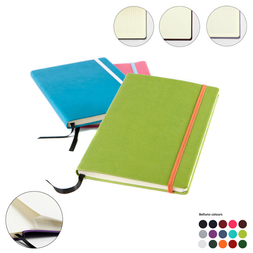A5 Casebound Notebook with Elastic Strap in a choice of Belluno Colours