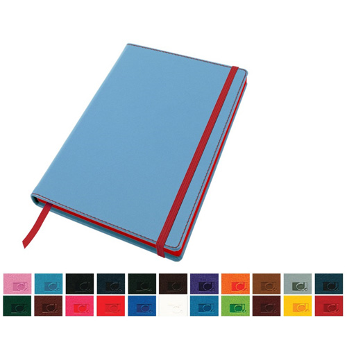 Accent A5 Notebook with a Belluno Soft Touch Cover in a Choice of 22 Colours with a Contrast Colour Elastic Strap, Edge Stitch, Edge Stained Paper & Page Marker.