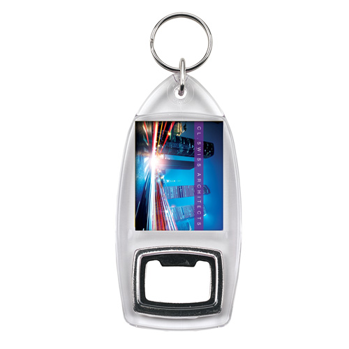 R1/R6 Bottle Opener Keyring in clear