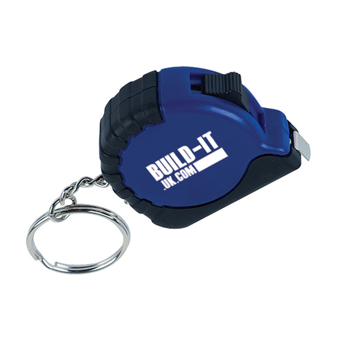 Tape Measure Keyring in blue