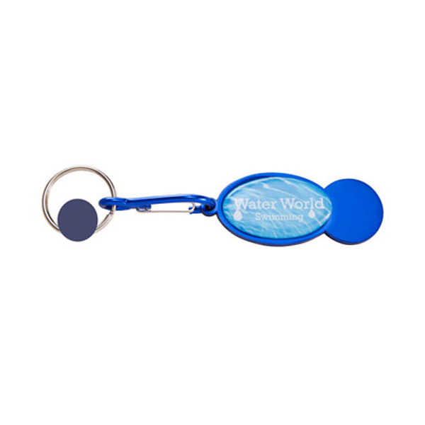 Shopper Trolley Coin Keyring in dark-blue