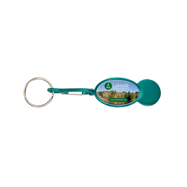 Shopper Trolley Coin Keyring in green