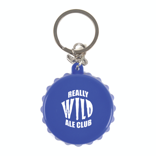 Bottle Lid Opener Plastic Bottle Opener Keyring in blue