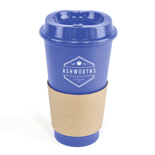 Cafe 500Ml Plastic Single Walled Take Out Style Coffee Mug in blue