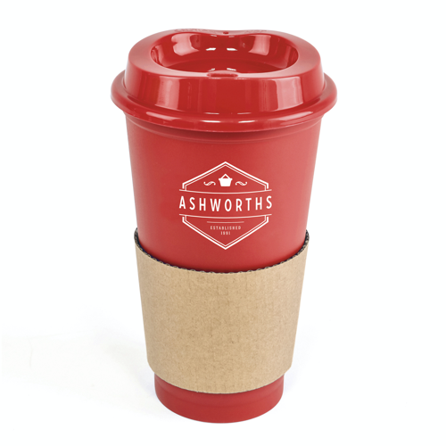 Cafe 500Ml Plastic Single Walled Take Out Style Coffee Mug in red