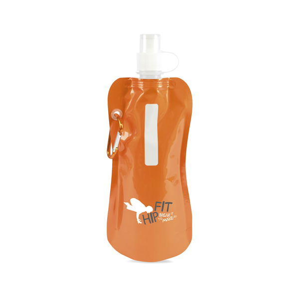 Metallic fold up bottle in orange