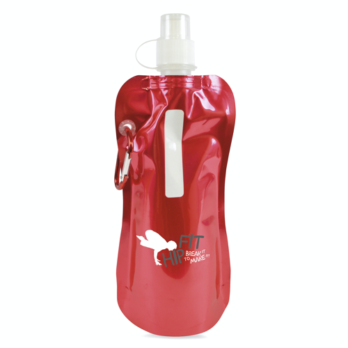Metallic fold up bottle in red
