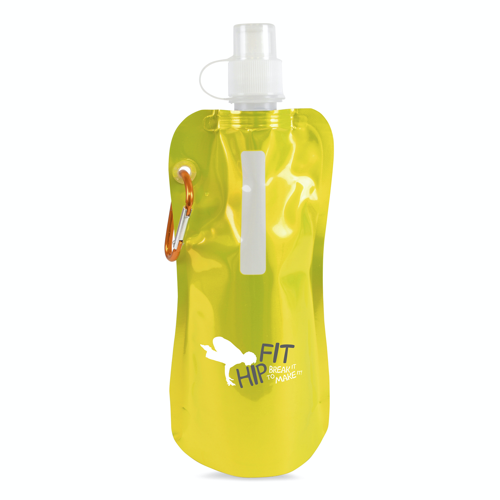 Metallic fold up bottle in yellow