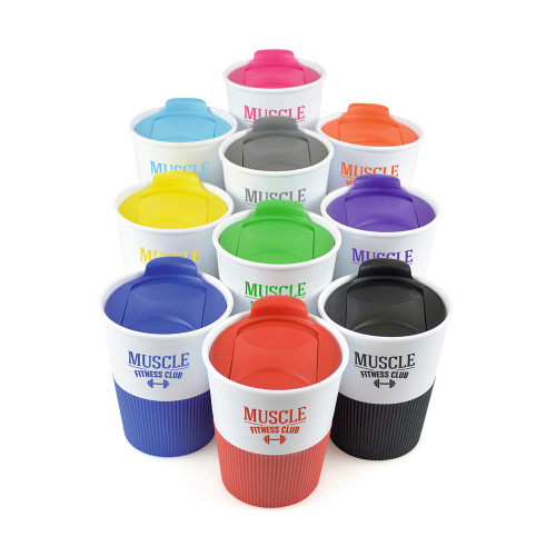 Rubber Base Plastic Take Out Mugs in