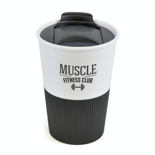 Rubber Base Plastic Take Out Mugs in black