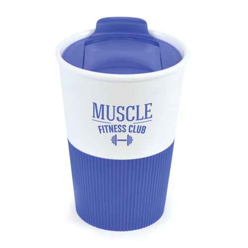 Rubber Base Plastic Take Out Mugs in blue