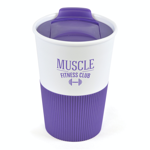 Rubber Base Plastic Take Out Mugs in purple