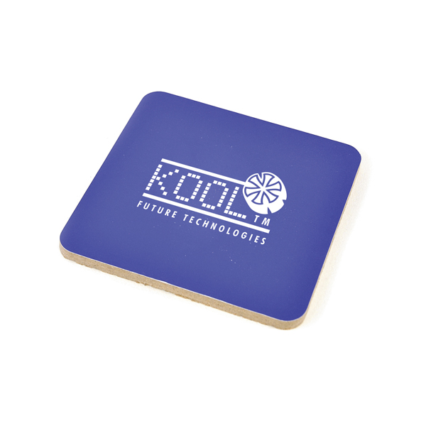 Square Cork Coloured Coaster in blue