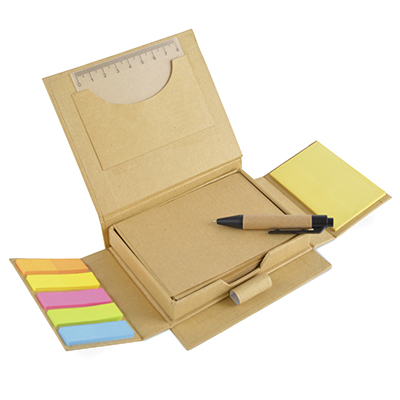 Tri-Fold Eco Desk Set Including Kraft Paper Notepad