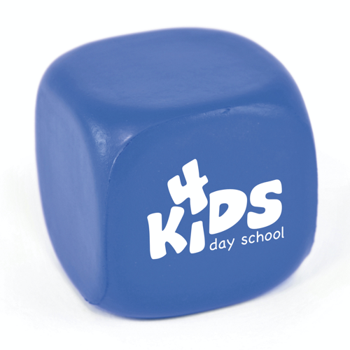 Cube shaped PU stress toy.  A great all round giveaway for an number of promotions.  Not use it to promote a kids play centre, include it in a Fresher's week giveaway or the openin in blue