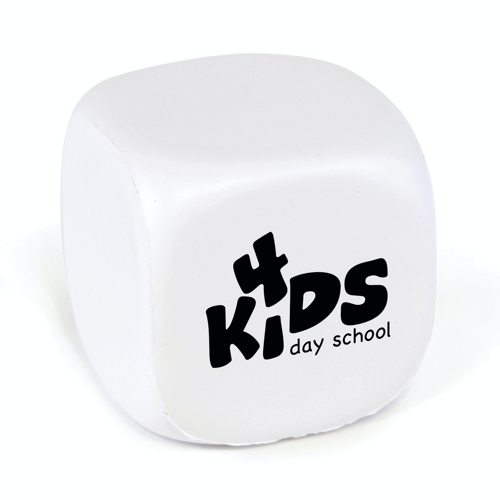 Cube shaped PU stress toy.  A great all round giveaway for an number of promotions.  Not use it to promote a kids play centre, include it in a Fresher's week giveaway or the openin in white
