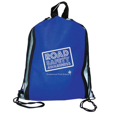 Reflector Drawstring Bag in blue