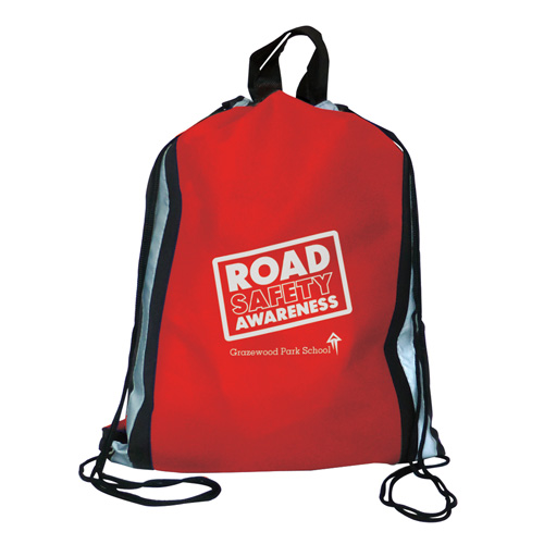 Reflector Drawstring Bag in red