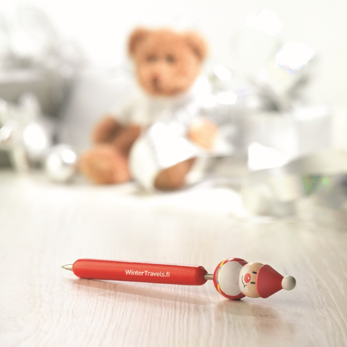 Ball pen with Xmas motifs in red