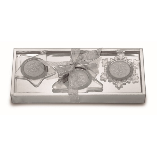 Set of 3 glass candle holders in matt-silver