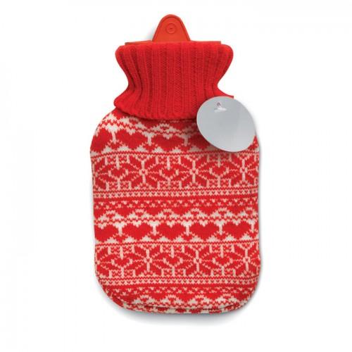 Hot water bottler in red