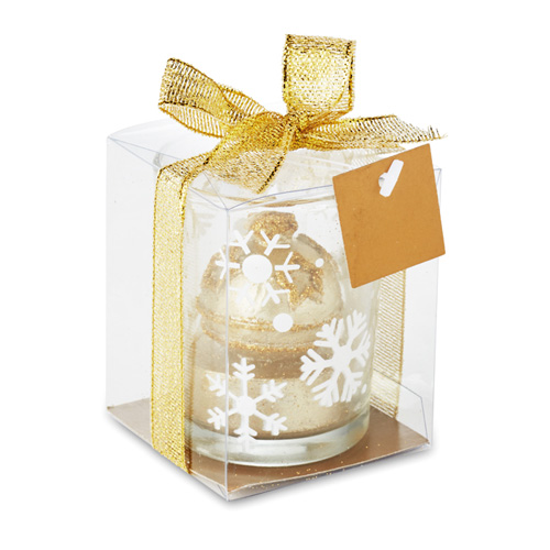 Candle holder with tealight in gold