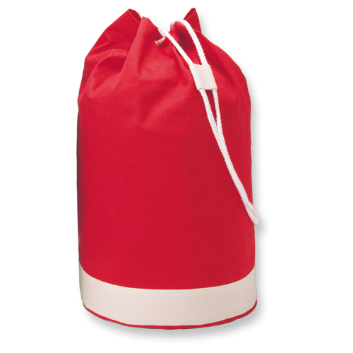 Cotton duffle bag bicolour      in red