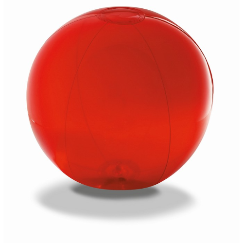 Transparent beach ball in red