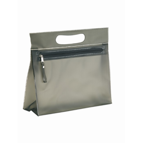 Transparent cosmetic pouch in black