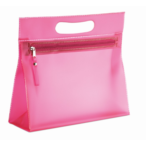 Transparent cosmetic pouch in fuchsia