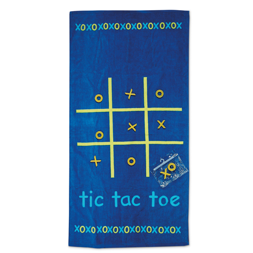 Tic-Tac-Toe Beach Towel in blue