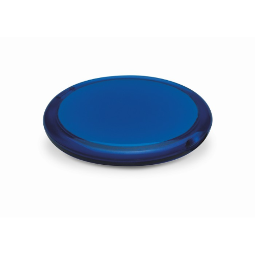 Rounded double compact mirror in transparent-blue