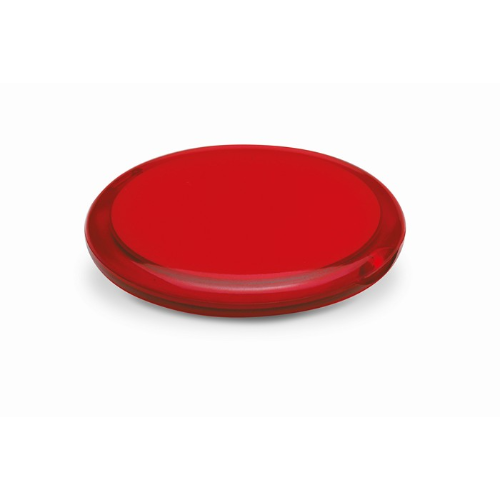 Rounded double compact mirror in transparent-red