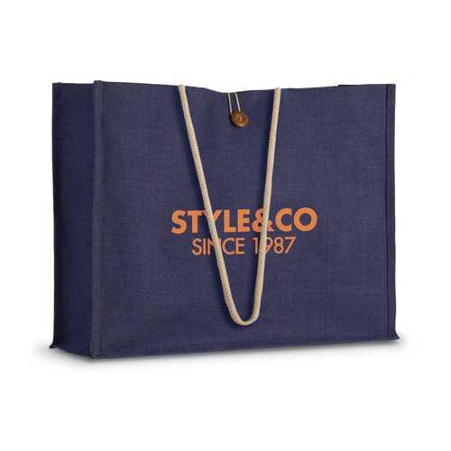 Jute Shopper Bag W/ Handles in violet