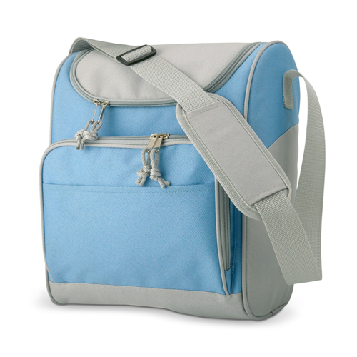 Cooler bag with front pocket in baby-blue