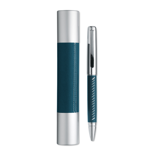Metal ball pen in box in blue