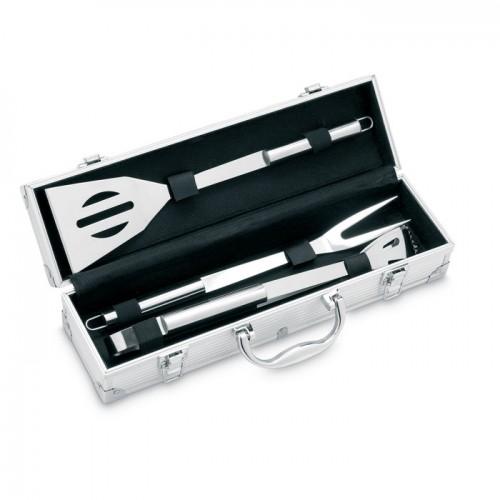 3 BBQ tools in aluminium case   in silver