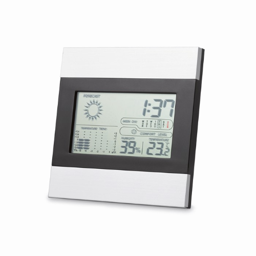 Weather station and clock in matt-silver