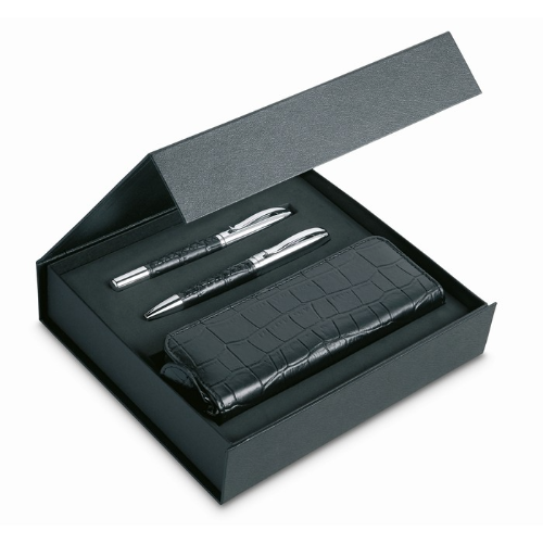 Pen set and pouch in PU case in black
