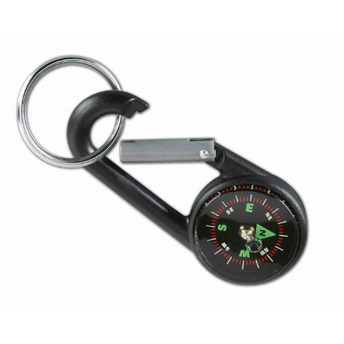 Carabiner hook with key ring in black