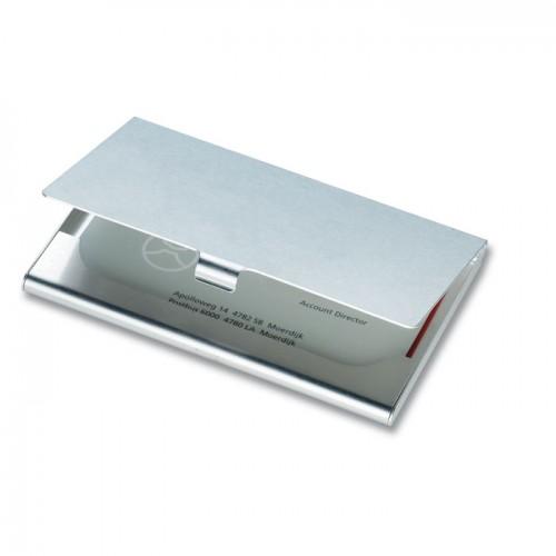 Aluminium business card holder in shiny-silver