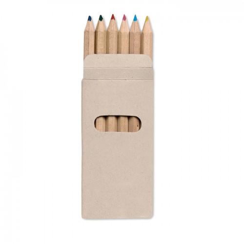6 Coloured Pencils In Box in multicolour