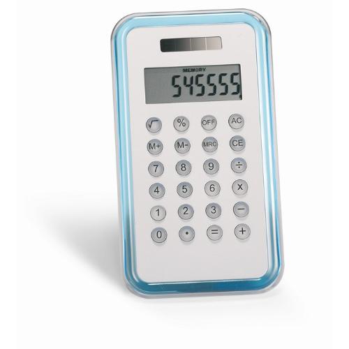 8 digit calculator in transparent-blue