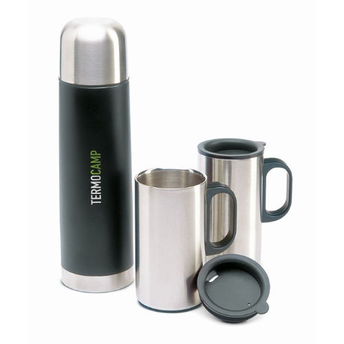Insulation flask with 2 mugs in